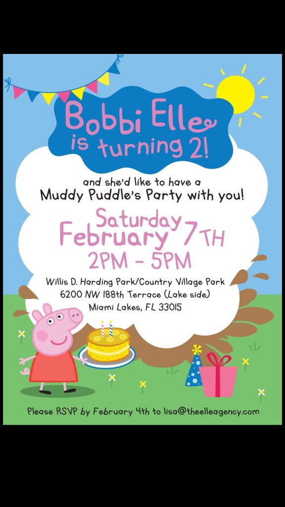 Peppa Pig themed birthday invite