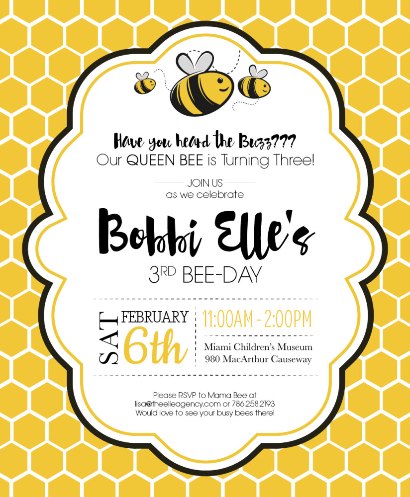 Bumble Bee Birthday Party Invite