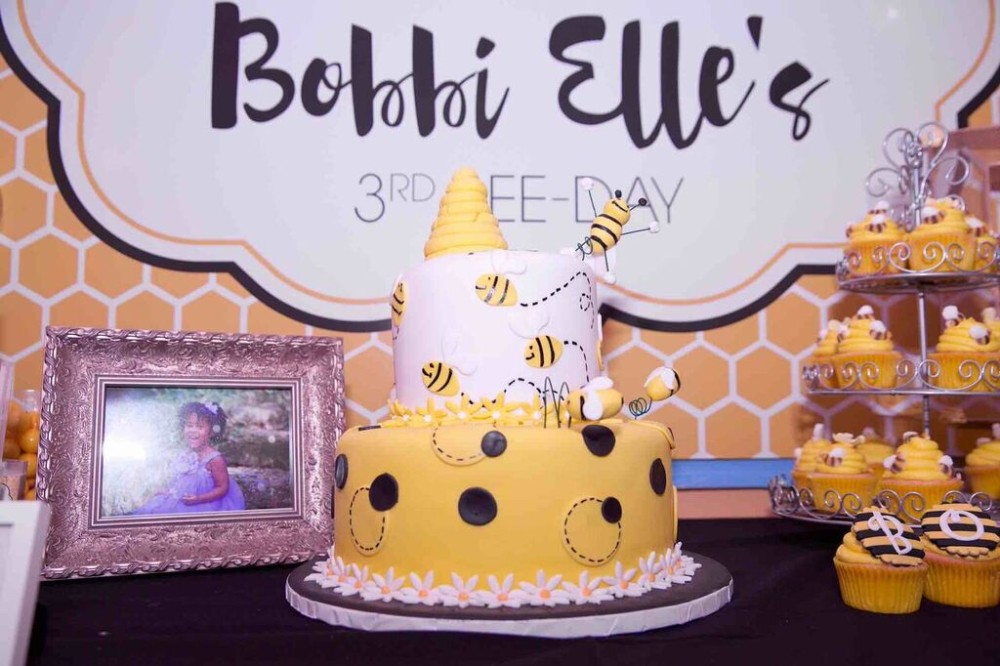 Queen Bee Turns Three - bumble bee desert table